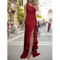 Tirantes comunes Charmeuse Un hombro Vestido tubo Vestidos de baile de promoción (018218099)