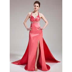 A-Line/Princess Halter Watteau Train Evening Dresses With Ruffle Beading Split Front