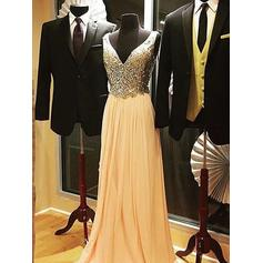 A-Line/Princess Chiffon V-neck Regular Straps Prom Dresses