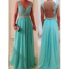 A-Line/Princess Chiffon Lace Bridesmaid Dresses Beading Scoop Neck Sleeveless Floor-Length