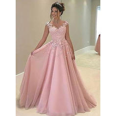 Tulle Sleeveless A-Line/Princess Prom Dresses Sweetheart Appliques Lace Floor-Length
