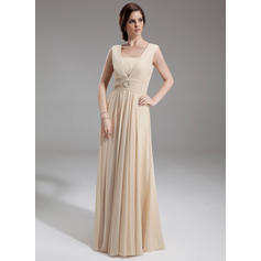 Ruffle Beading Square Neckline Fashion Chiffon Mother of the Bride Dresses