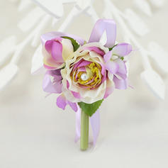"Boutonniere Wedding/Party Satin/Cotton/Ribbon 4.33""(Approx.11cm) 2.76"" (Approx.7cm) Wedding Flowers"