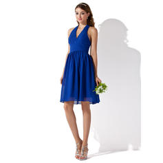 A-Line/Princess Knee-Length Chiffon General Plus Bridesmaid Dresses (007000754)