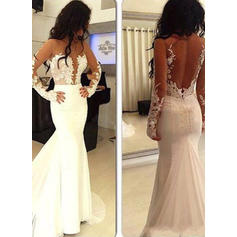 Trumpet/Mermaid Scoop Neck Sweep Train Satin Evening Dresses With Appliques Lace