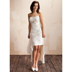 Sheath/Column Sweetheart Asymmetrical Detachable Wedding Dresses With Beading Crystal Brooch Sequins Bow(s) (002210418)