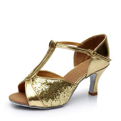 Women's Latin Heels Sandals Leatherette Sparkling Glitter With T-Strap Hollow-out Dance Shoes