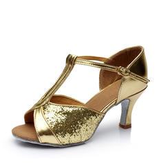 Donna Latino Tacchi Sandalo Similpelle Glitter scintillanti con Con Listino a T Cava-out Scarpe da ballo