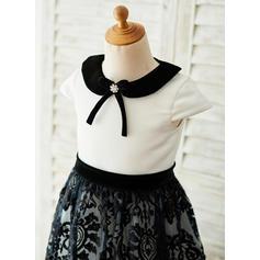 Forme Princesse Longueur mollet Robes à Fleurs pour Filles - Satiné/Dentelle Manches courtes col de chemise (010153230)