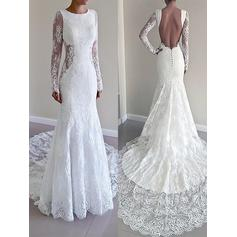 Trumpet/Mermaid Lace Long Sleeves Scoop Court Train Wedding Dresses (002147976)