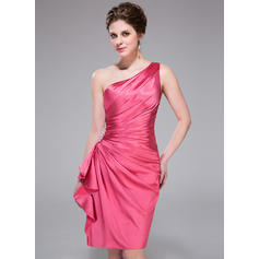 Sheath/Column One-Shoulder Knee-Length Charmeuse Cocktail Dress With Beading Cascading Ruffles (007037307)