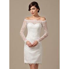 Tubo Off-the-ombro Coquetel Renda Vestido de noiva com Beading lantejoulas (002064199)