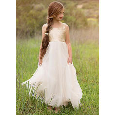 Flattering Floor-length A-Line/Princess Flower Girl Dresses Scoop Neck Tulle/Sequined Sleeveless