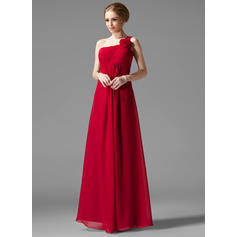 Empire Chiffon Bridesmaid Dresses Ruffle Flower(s) One-Shoulder Sleeveless Floor-Length