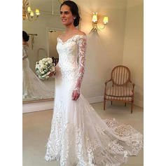 Flattering Off-The-Shoulder Trumpet/Mermaid Wedding Dresses Floor-Length Court Train Tulle Long Sleeves (002148054)