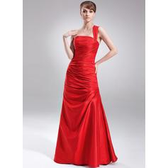 A-Line/Princess Taffeta Prom Dresses Ruffle One-Shoulder Sleeveless Floor-Length