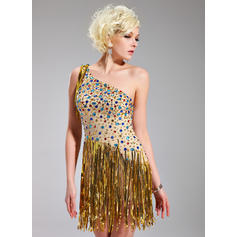 Sheath/Column One-Shoulder Chiffon Sleeveless Short/Mini Beading Sequins Cocktail Dresses