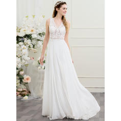 Sweep/Brush trem Vestidos princesa/ Formato A Tecido de seda Chic Vestidos de noiva Sem Mangas (002095817)