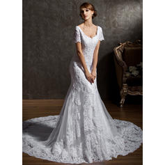 Beading Short Sleeves Trumpet/Mermaid - Tulle Lace Wedding Dresses (002196851)