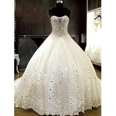 Ball-Gown Beading Appliques Tulle - Chic Wedding Dresses