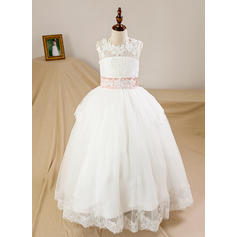Scoop Neck Ball Gown Flower Girl Dresses Tulle/Lace Bow(s)/Back Hole Sleeveless Floor-length