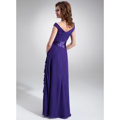 Corte A/Princesa Fuera del hombro Gasa Lujoso Vestidos de madrina (008213105)
