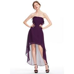 Babados em cascata Vestidos princesa/ Formato A Assimétrico Tecido de seda Vestidos de boas vindas (022214169)