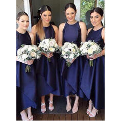 A-Line/Princess Satin Bridesmaid Dresses Ruffle Scoop Neck Sleeveless Asymmetrical