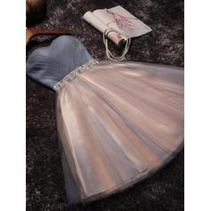A-Line/Princess Sweetheart Tulle Sleeveless Short/Mini Ruffle Sash Beading Bow(s) Homecoming Dresses