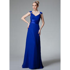 A-Line/Princess Chiffon Charmeuse Bridesmaid Dresses Ruffle Beading V-neck Sleeveless Floor-Length