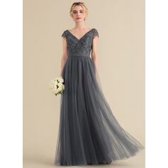 A-Line/Princess V-neck Floor-Length Tulle Lace Evening Dress With Beading Bow(s) (017164922)