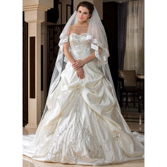 Cathedral Bridal Veils Tulle One-tier Classic With Ribbon Edge Wedding Veils