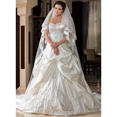 Catedral véus de noivas Tule Uma camada Clássico com Borda com tira Véus de casamento