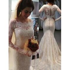 Sweep Train Trumpet/Mermaid Lace Elegant Wedding Dresses Long Sleeves