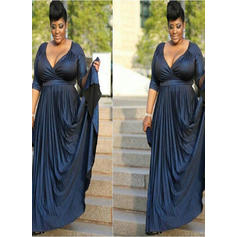 A-Line/Princess Charmeuse 3/4 Sleeves V-neck Court Train Zipper Up Mother of the Bride Dresses