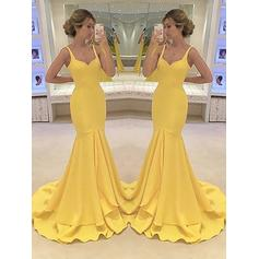 Trumpet/Mermaid Sweetheart Charmeuse Sleeveless Sweep Train Cascading Ruffles Evening Dresses