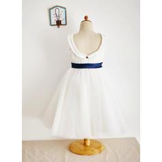 Elegant Wadenlang Duchesse-Linie Blumenmädchenkleider U-Ausschnitt Tüll Ärmellos