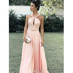 Corte A/Princesa Fajas Cabestro con Gasa Vestidos de noche (017213626)