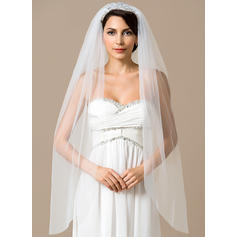 Fingertip Bridal Veils Tulle One-tier Mantilla With Cut Edge Wedding Veils