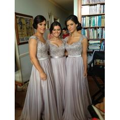 Simple A-Line/Princess Cap Straps Chiffon Lace Bridesmaid Dresses