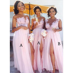 Chiffon Lace Sleeveless A-Line/Princess Bridesmaid Dresses Scoop Neck Split Front Floor-Length
