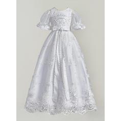 Tulle Dentelle Col rond Brodé Robes de baptême bébé fille avec 1/2 manches (2001216832)