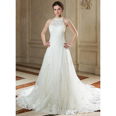 A-Line/Princess Beading Sequins Tulle Lace Court Train Three-dimensional Wedding Dresses (002000141)
