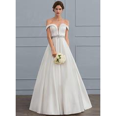 Cuentas Lentejuelas Cascada de volantes Corte de baile - Satén Vestidos de novia (002119794)