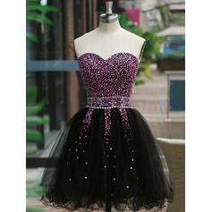 A-Line/Princess Sweetheart Tulle Sleeveless Short/Mini Beading Homecoming Dresses
