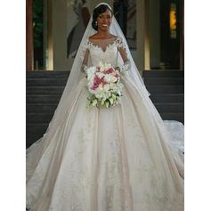 Ball-Gown Scoop Chapel Train Wedding Dresses With Appliques Lace (002217899)