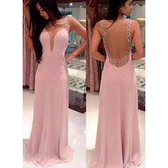 A-Line/Princess Sweep Train Prom Dresses V-neck Chiffon Sleeveless (018144682)