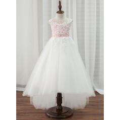 Forme Princesse Asymétrique Robes à Fleurs pour Filles - Tulle/Dentelle Sans manches Col rond avec Brodé (010153215)