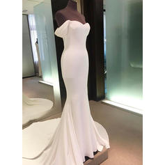 Sheath/Column Off-The-Shoulder Court Train Wedding Dresses (002146944)