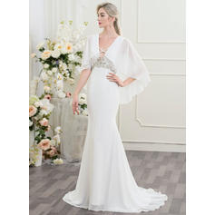 knee length wedding dresses with sleeves